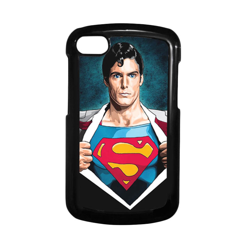 HEAVENCASE Superman 02 Hitam Hardcase Casing Blackberry for Q10