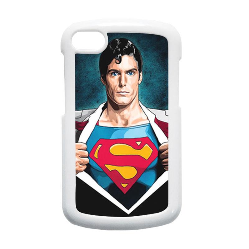HEAVENCASE Superman 02 Putih Hardcase Casing for Blackberry Q10