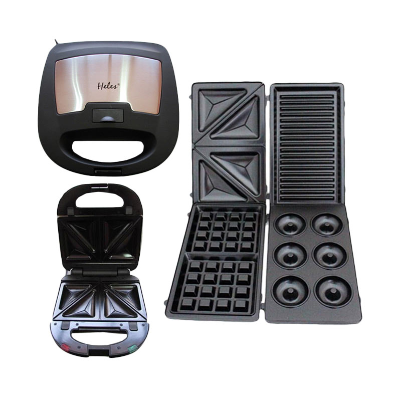 harga Heles 4in1 Sandwich Toaster HSM-029-4P Pemanggang [Donut, Waffle, Grill, Sandwich] Blibli.com