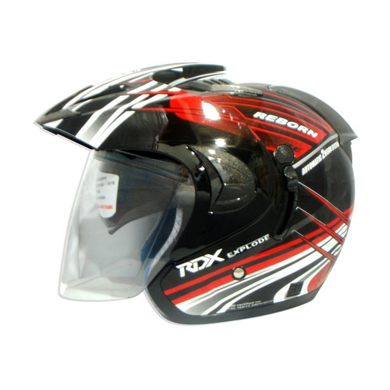 RDX Explode V2 Grafis Reborn Black Red Helm Half Face
