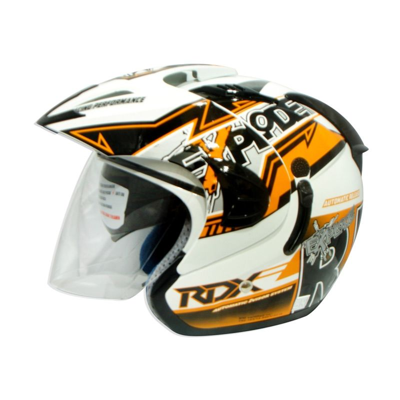 RDX Explode V2 Grafis Rider White Orange L Helm Half Face