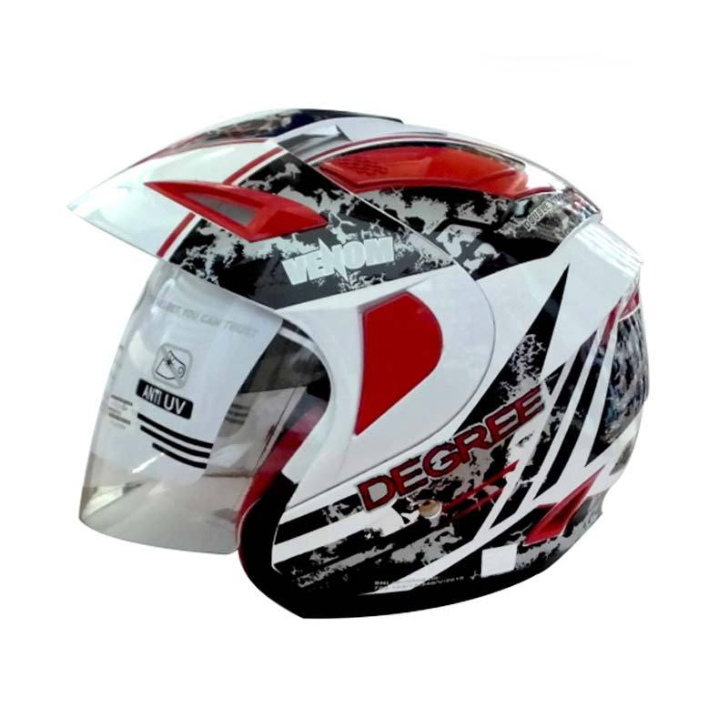 RDX Helm 2 Kaca Half Face Venom Grafis Degree (White Red) M