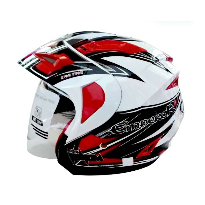 RDX Helm 2 Kaca Half Face Venom Grafis Emperor (White Red) M