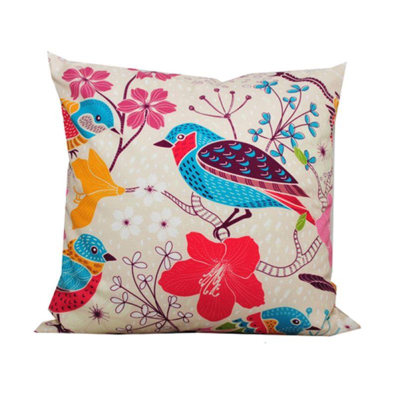 Hermosa Big Flower & Bird Putih Bantal Sofa [40 x 40 cm]