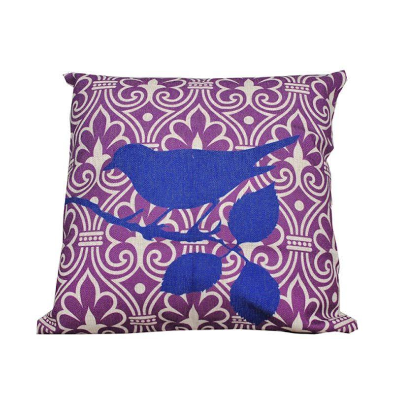 Hermosa Bird Blue Purple Bantal Sofa [45 x 45 cm]