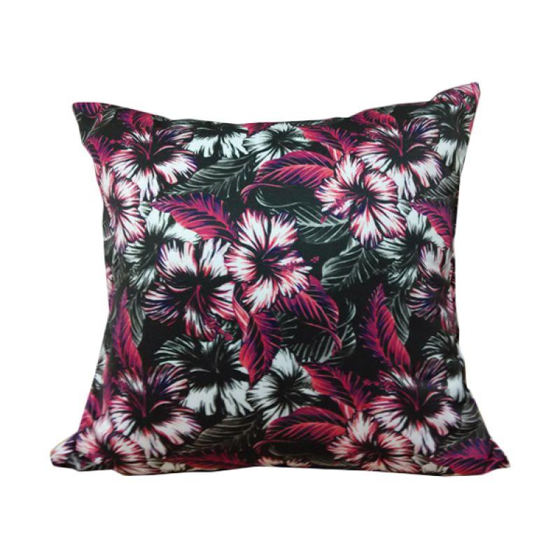 Hermosa Dark Flower Hitam Bantal Sofa [40 x 40 cm]