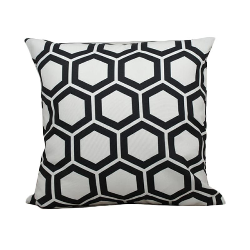 Hermosa Octagon Black and White Bantal Sofa [40 x 40 cm]
