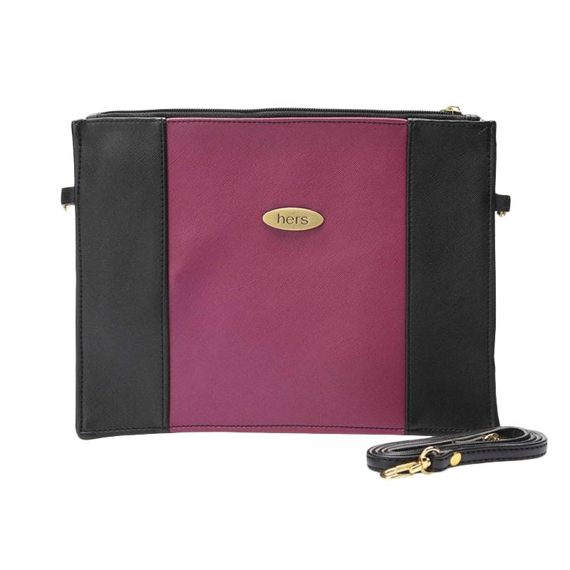 LINE - Hers Bags Rectangular Shape Elegant Purple Sling Bag