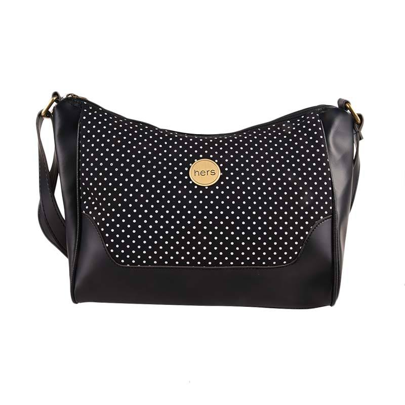 Hers Bags Canvas Polkadot Black HER886 Sling Bag