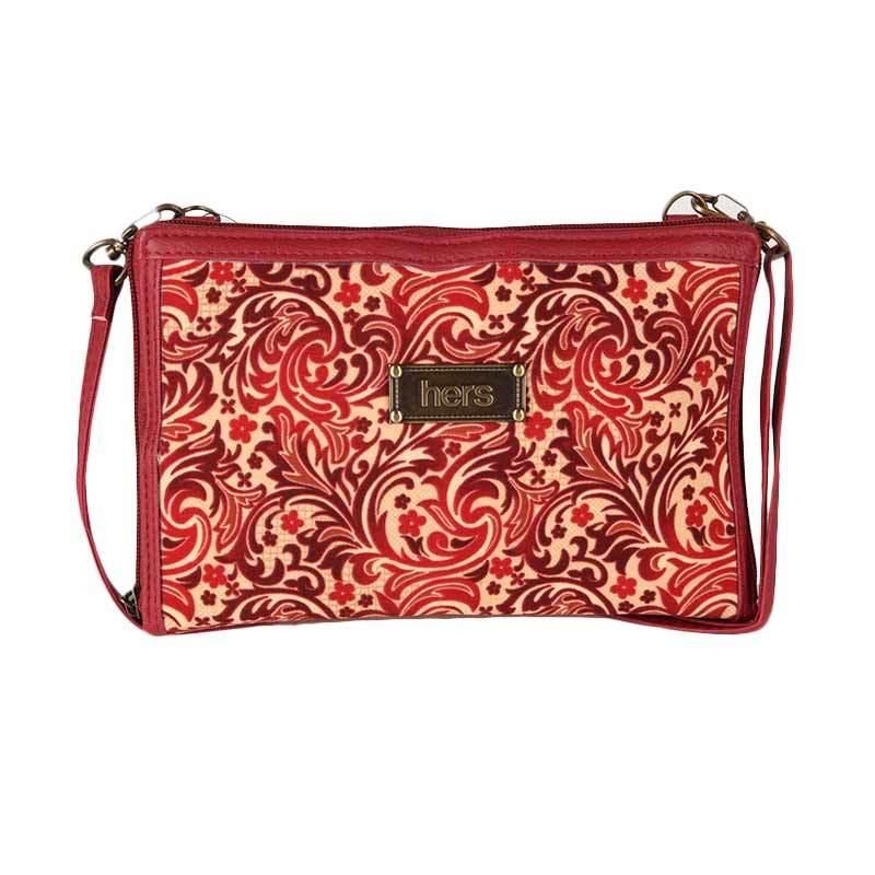 Hers Bags Clutch Multifungsi Motif Batik - Merah ID033