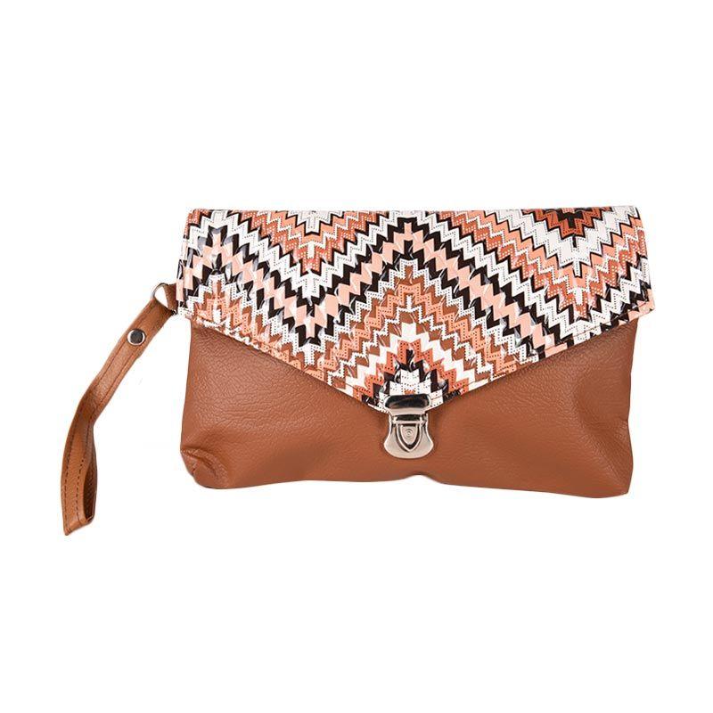 Hers Bags Kori Zig Zag ID029 Cokelat Clutch