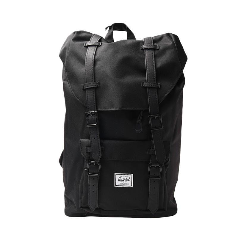 Herschel 10020-00535-OS Littel America M 600D Poly BLK BLK PU Backpack