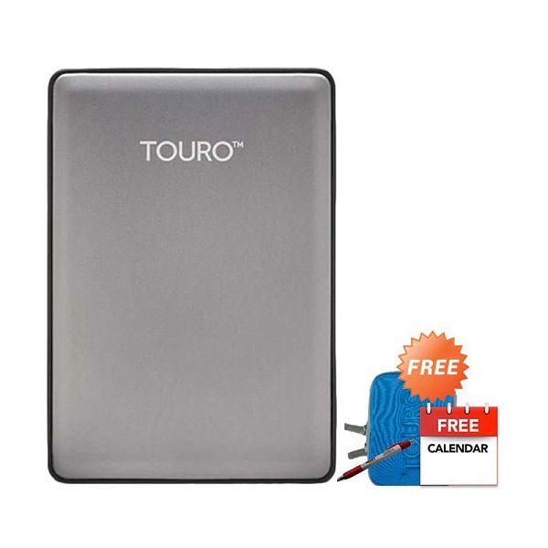 HGST Hitachi  Touro S  Grey Hard Disk Eksternal [1 TB] + Pouch + Pen + Kalender