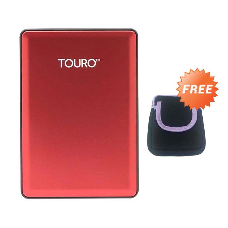 HGST Hitachi Touro S  Red Hard Disk Eksternal [1 TB]+ Pouch + Kalender