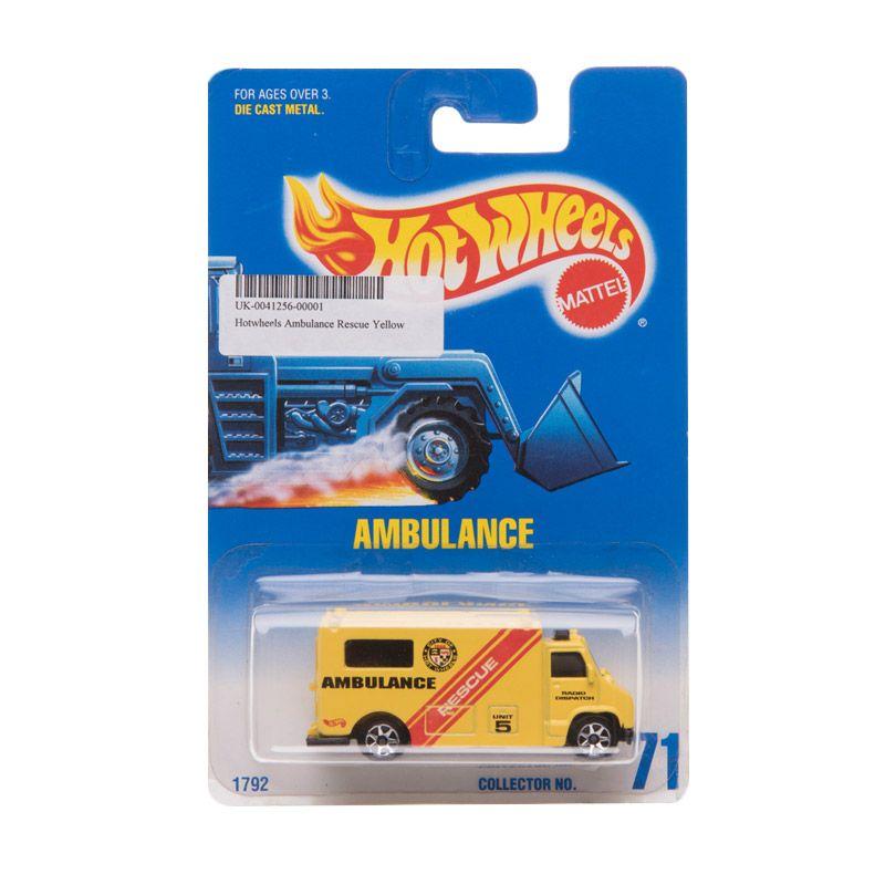 Hotwheels Ambulance Rescue Yellow Diecast