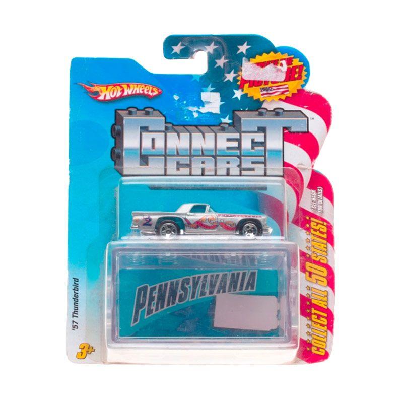 Hotwheels Connect Cars Pennsylvania 57 Thunderbird Silver Diecast