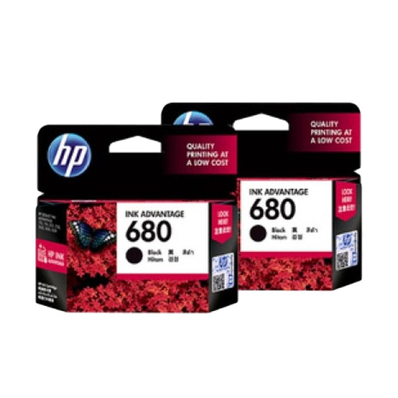 HP 680 Black Original Ink Cartridge - Hitam [2 pcs]