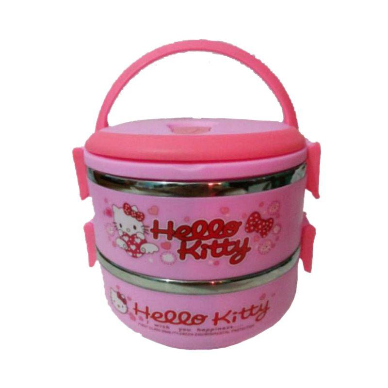 Hello Kitty Lunch Box Pink Kotak Makan [2 Susun]