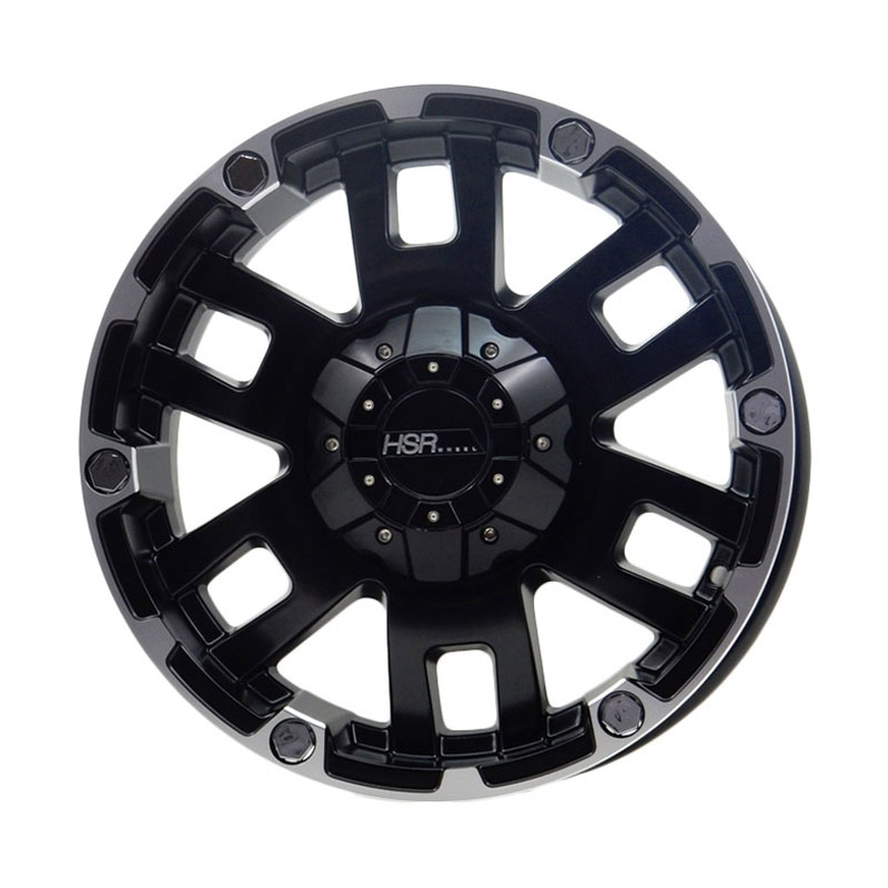 HSR Wheel JT64 Semi Matte Black Machine Face+Chrome Rivets Velg Mobil [ Ring16x8,0 H6x139,7 ET0 ]