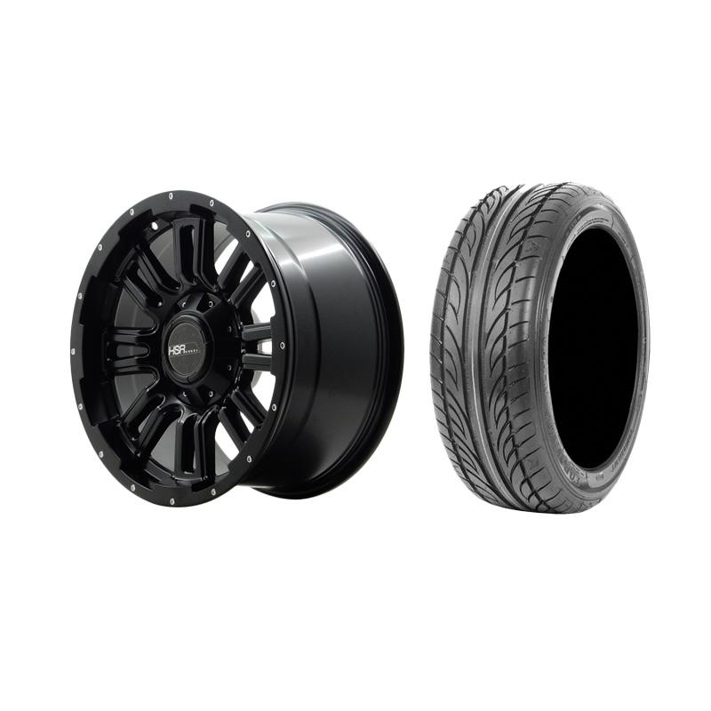 Paket Special TKB Group Indonesia [HSR Wheel JT96 Semi Matte Black + Chrome Rivets Velg Mobil Ring 17x9 H6x139.7 ET15 + Accelera Alpha 205/45 R17 Ban Mobil Black]