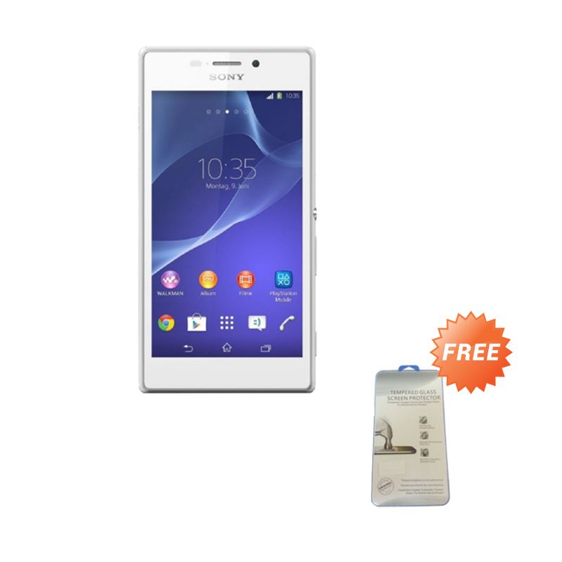 Sony Xperia M2 Aqua Single White Smartphone [RAM 1 GB/ROM 8 GB] + Tempered Glass