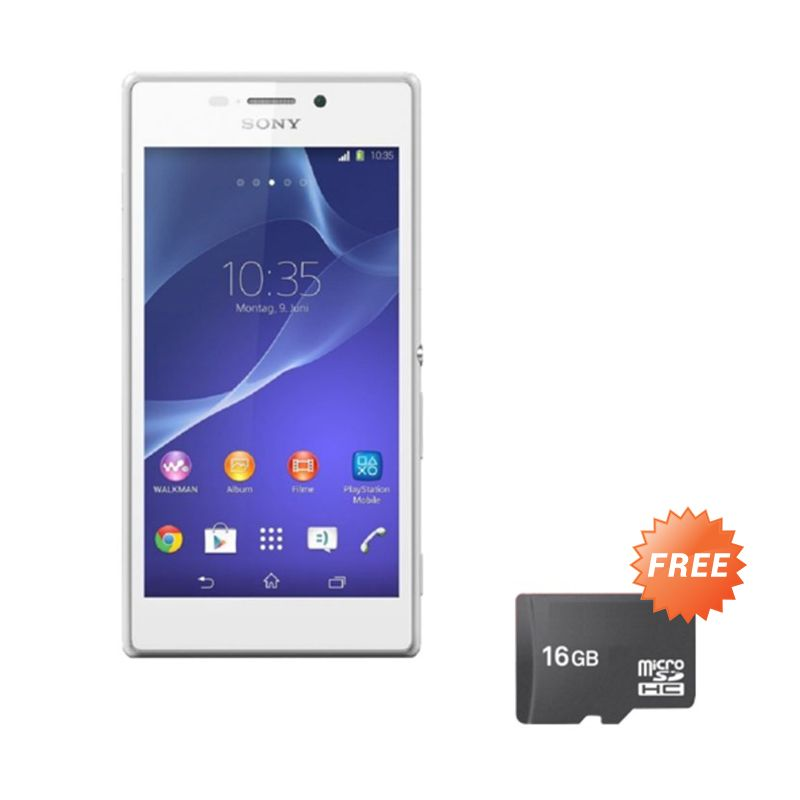 Sony Xperia M2 Aqua Single White Smartphone [RAM 1 GB/ROM 8 GB] + Memory Card
