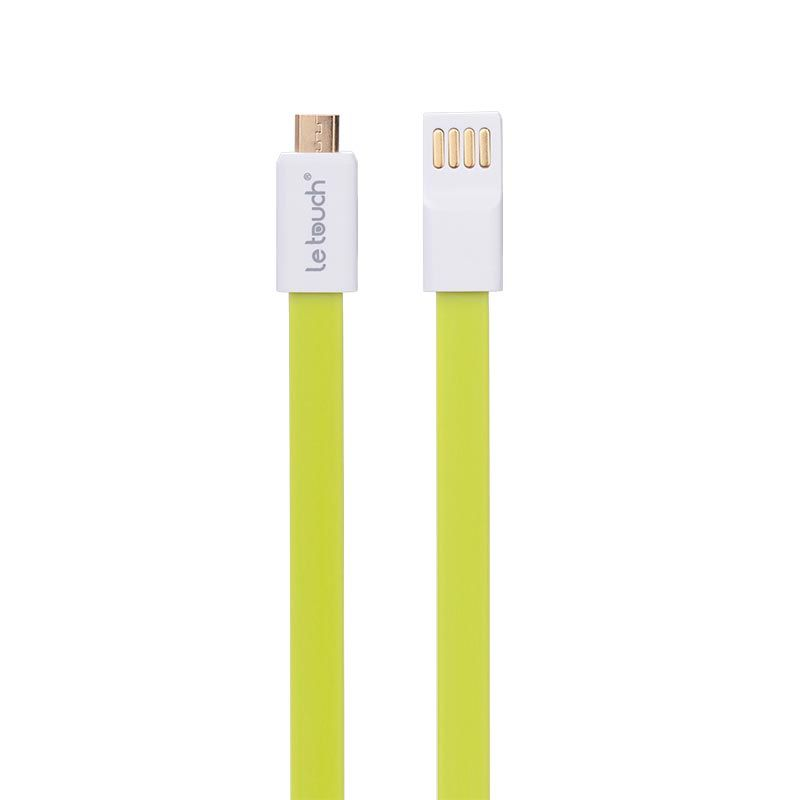 LeTouch Vogue S Micro S-Colorful Flat Cable with Magnet Hijau Micro USB [22 cm]