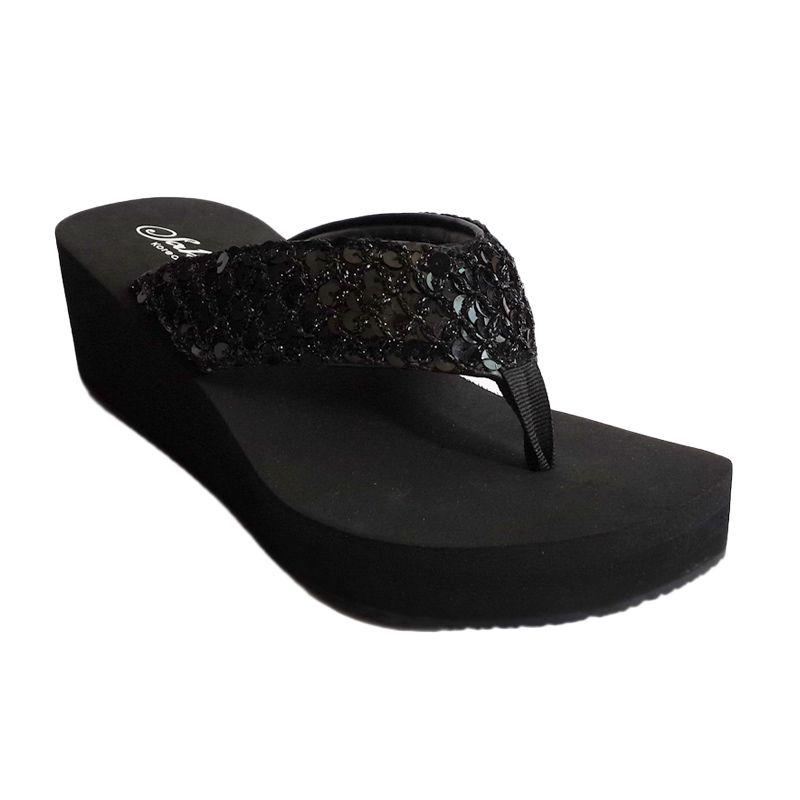 Sakia Hawai Wedges Hitam Sandal Wanita