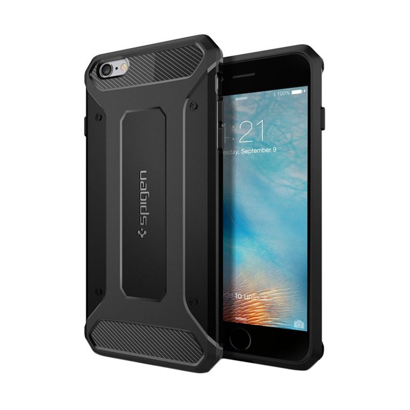Spigen Rugged Armor Black Casing for iPhone 6S Plus or 6 Plus [5.5 Inch]