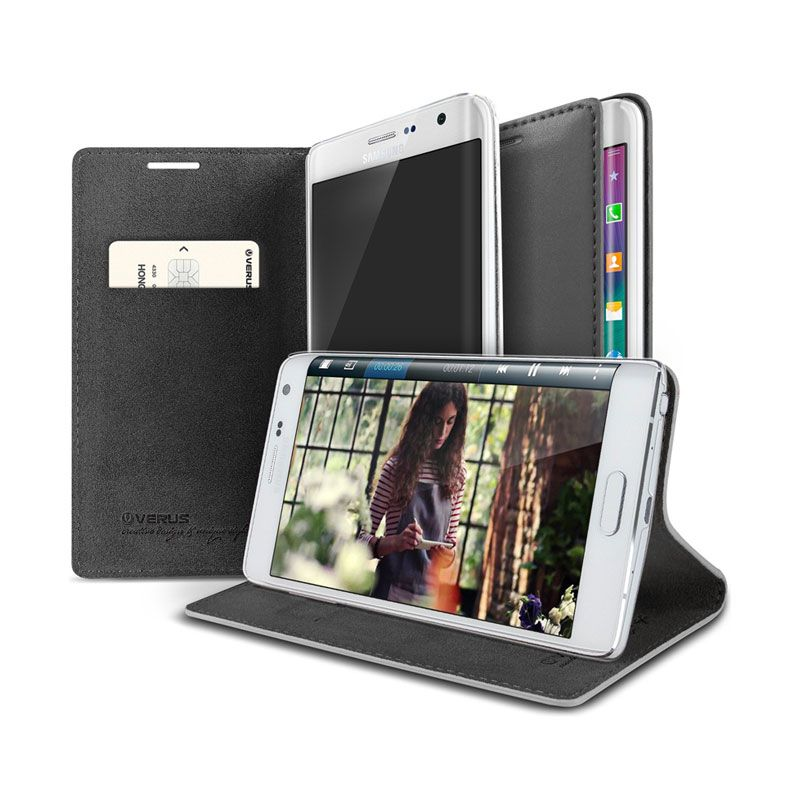 Verus Slim Crayon Diary Warm Gray Leather Casing for Galaxy Note Edge
