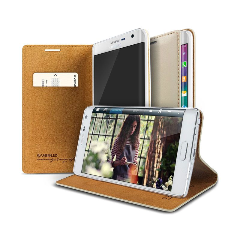 Verus Slim Crayon Diary Beige Leather Casing for Galaxy Note Edge