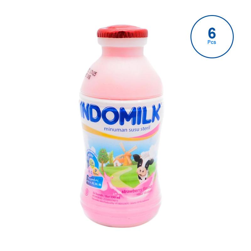 Indomilk Strawberry Susu UHT Cair [190mL/ 6 pcs]