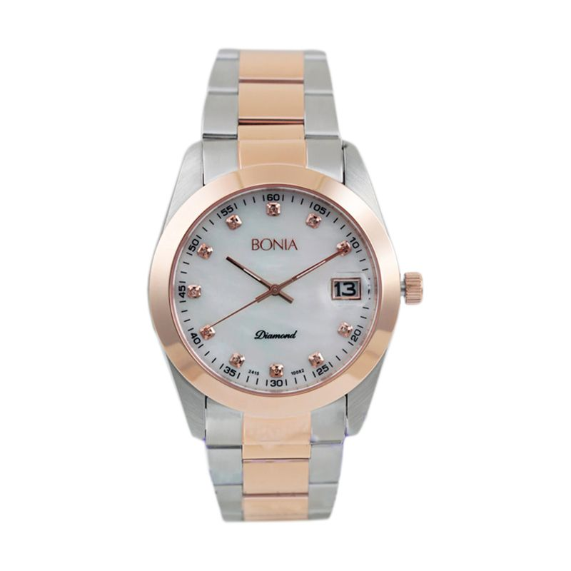BONIA BN10082-5657 Silver Rose Gold Jam Tangan Wanita
