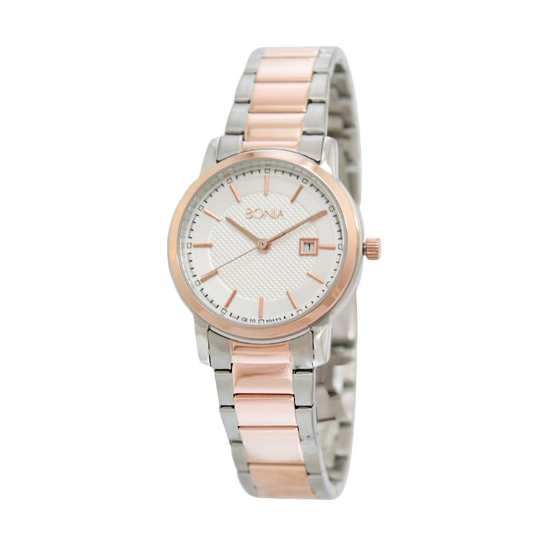 Bonia BN10112-2612S Silver Rose Gold Jam Tangan Wanita