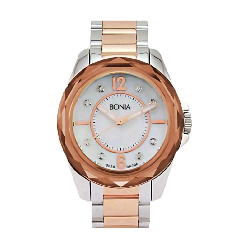 Bonia BN796-3155 Silver Rose Gold Jam Tangan Wanita
