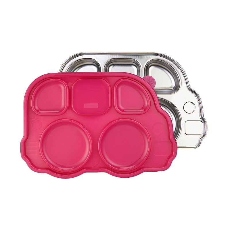 Innobaby Din Din Smart Stainless Divided Platter with Sectional Lid - Pink