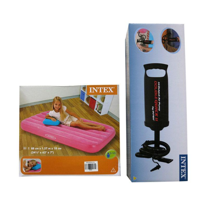 Intex Paket Pink Kasur Anak + Pompa