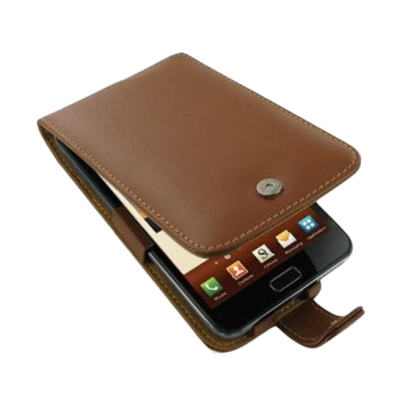 PDair Flip Leather Cokelat Casing for Samsung Galaxy Note