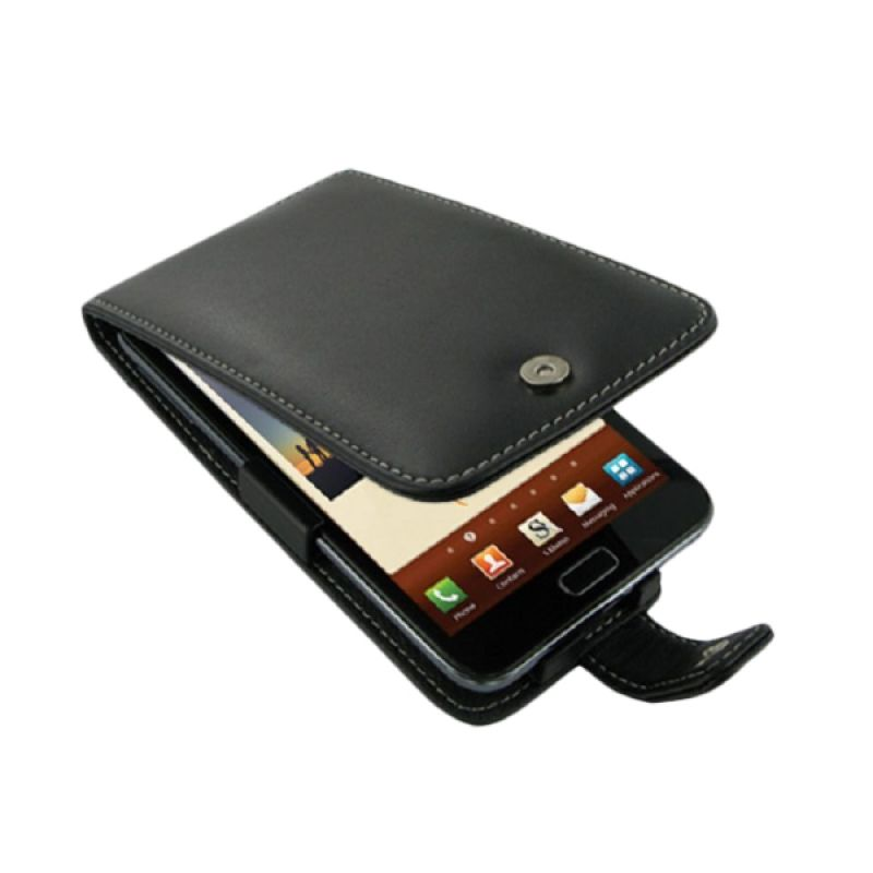 PDair Flip Leather Hitam Casing for Samsung Galaxy Note