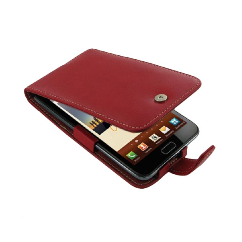 PDair Flip Leather Merah Casing for Samsung Galaxy Note