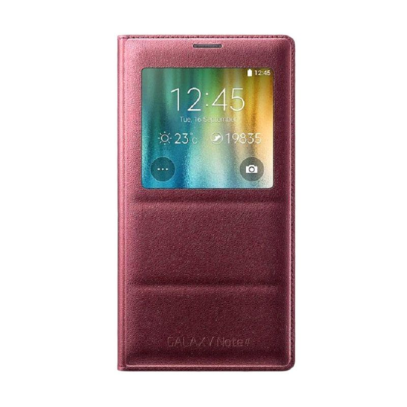 Samsung S.View Cover Electric Plum Red Casing for Galaxy Note 4