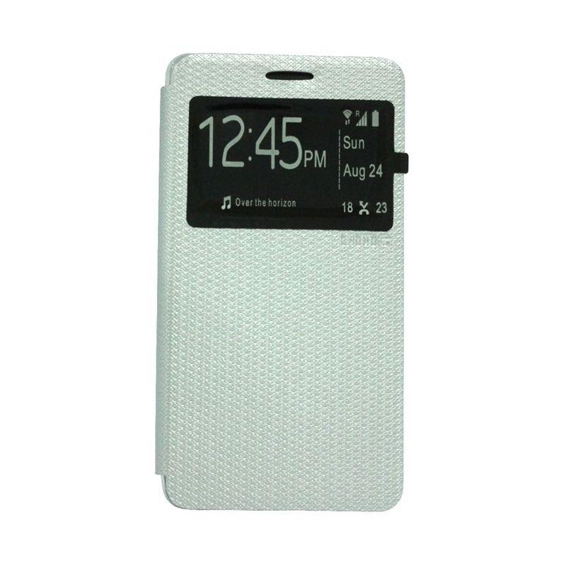 Ume Leather Putih Flip Cover Casing for Lenovo A7000