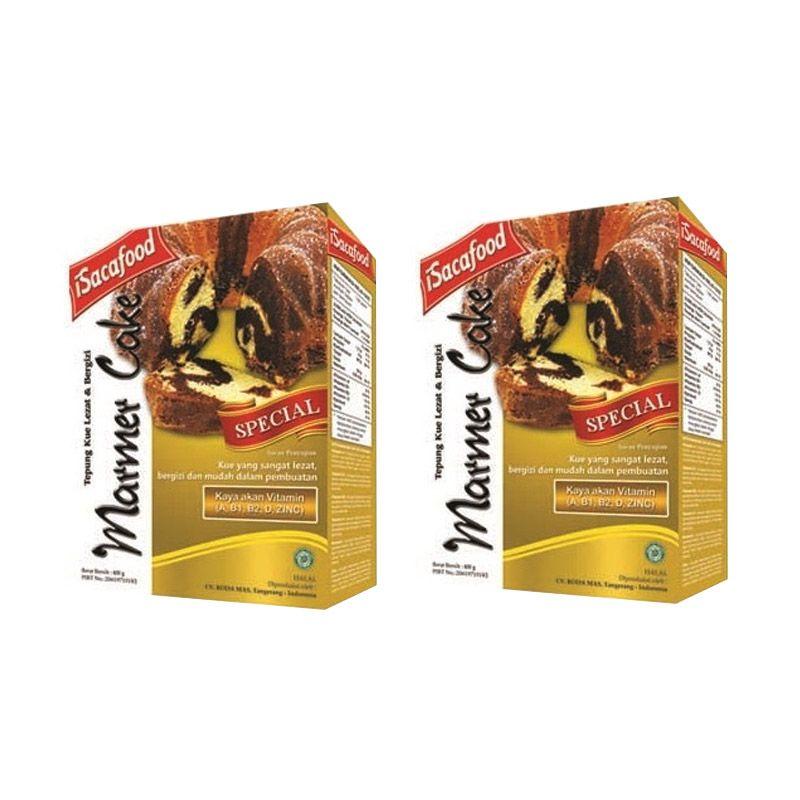 Isacafood Marmer Cake Tepung Instant 400gr [Paket 2 Pcs] + Free Bonus