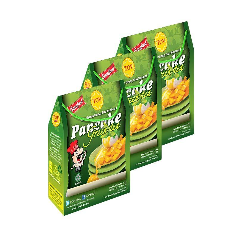 Isacafood Pancake Green Tea Tepung Instant 175gr [Paket 3 Pcs] + Free Bonus