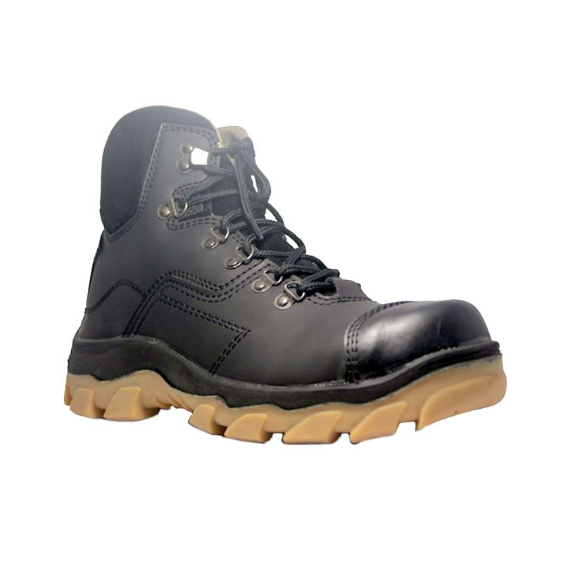 Cut Engineer Premium Safety Boots Apple Leather Black Sepatu Pria