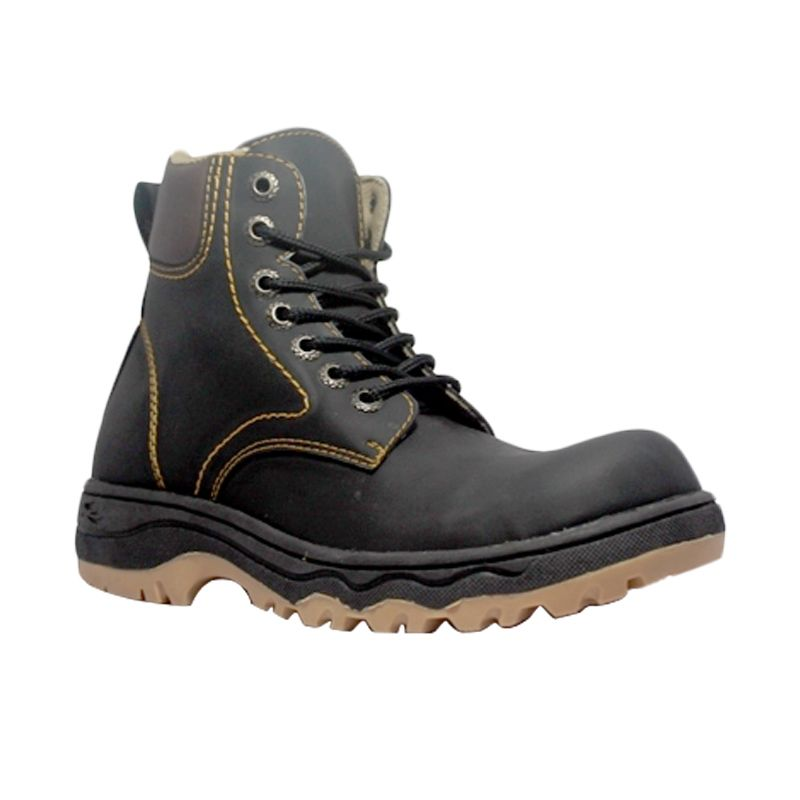 Cut Engineer Safety Boots Iron Apple Leather Black Sepatu Pria