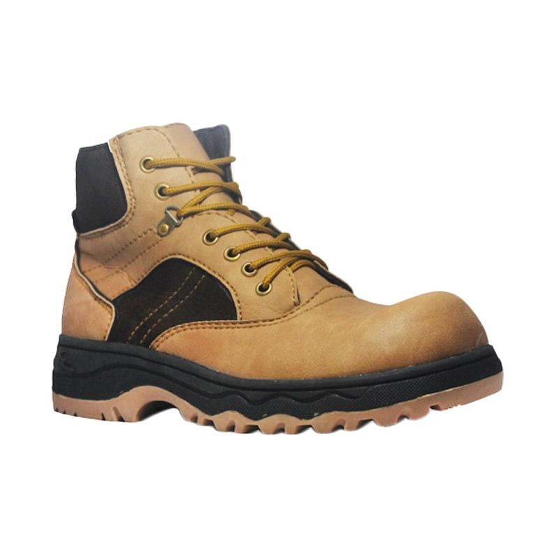 Cut Engineer Safety Boots Hiking High Leather Brown Sepatu Pria