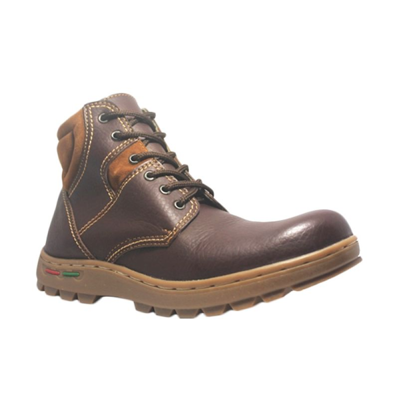 Cut Engineer Safety Boots Iron Earth Leather Coklat Sepatu Pria