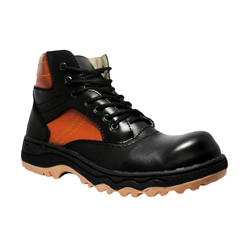 Cut Engineer Safety Boots Luxury Leather Black Sepatu Pria
