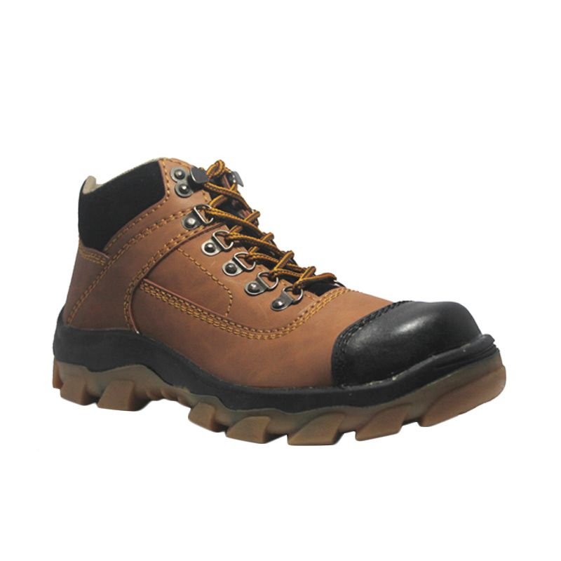 Cut Engineer Safety Boots Steal Composite Leather Brown Sepatu Pria